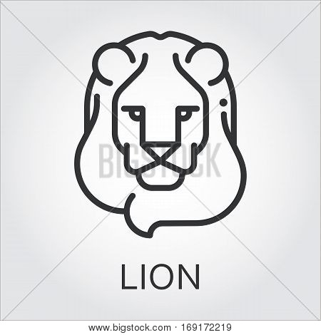 Black flat simple icon style line art. Outline symbol with stylized image of a head of a wild animal lion, leo. Stroke vector logo mono linear pictogram web graphics. On a gray background.