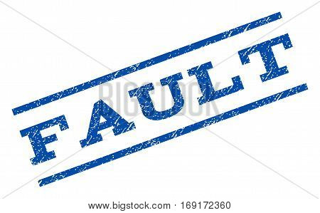 Fault watermark stamp. Text caption between parallel lines with grunge design style. Rotated rubber seal stamp with dust texture. Vector blue ink imprint on a white background.