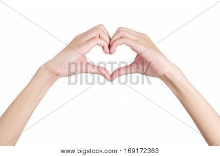 Woman's hands shaping a heart symbol front side Isolated on white background.