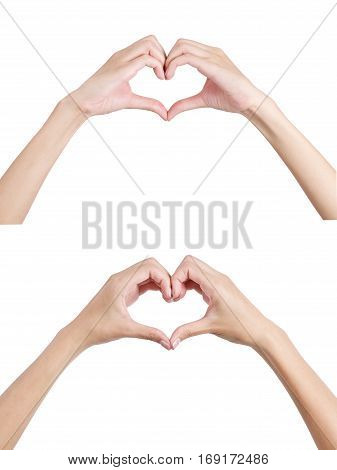 Woman's hands shaping a heart symbol front and back side Isolated on white background.