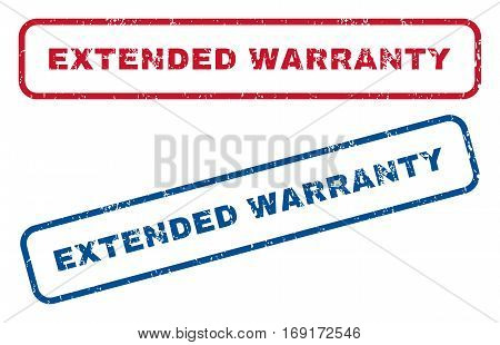 Extended Warranty text rubber seal stamp watermarks. Vector style is blue and red ink caption inside rounded rectangular banner. Grunge design and scratched texture. Blue and red stickers.