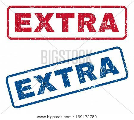 Extra text rubber seal stamp watermarks. Vector style is blue and red ink caption inside rounded rectangular banner. Grunge design and unclean texture. Blue and red signs.