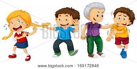 Boys bullying little kids illustration