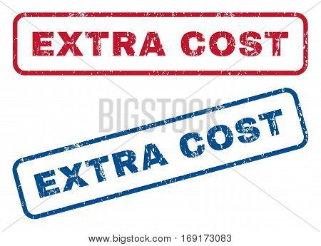 Extra Cost text rubber seal stamp watermarks. Vector style is blue and red ink caption inside rounded rectangular banner. Grunge design and dirty texture. Blue and red emblems.