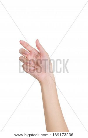 Woman's hand holding something empty front side isolated on white background.
