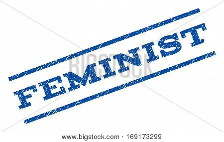 Feminist watermark stamp. Text caption between parallel lines with grunge design style. Rotated rubber seal stamp with dust texture. Vector blue ink imprint on a white background.