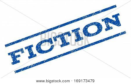 Fiction watermark stamp. Text tag between parallel lines with grunge design style. Rotated rubber seal stamp with scratched texture. Vector blue ink imprint on a white background.