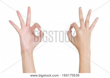 Woman's hands gesturing sign ok (okay) front and back side Isolated on white background.