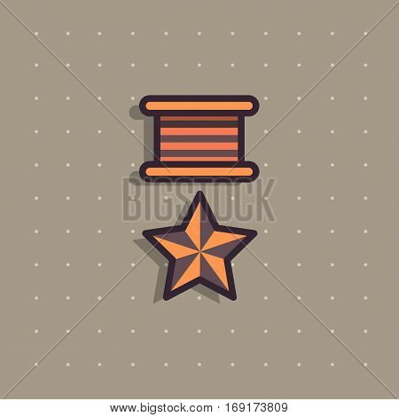 Icon of public commemorative medal. Award for day of defenders of fatherland for his merits to the homeland. Modern colorful flat style. Army force rewards icons.