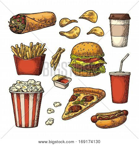 Set fast food. Cup cola coffee chips burrito hamburger pizza hotdog fry potato in paper box carton bucket popcorn ketchup. Isolated white background. Vector vintage engraving illustration
