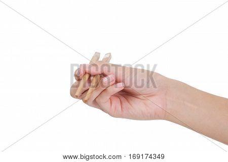 Hand Using Chopsticks.