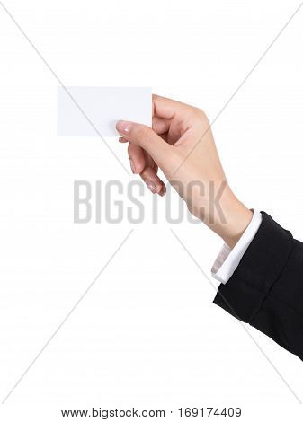 Hand Holding An Empty Business Card.