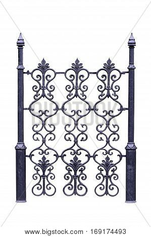 Decorative old fence for the park garden. Isolated over white background.