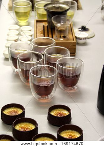 Professional preparation of Chinese tea with creme brulee