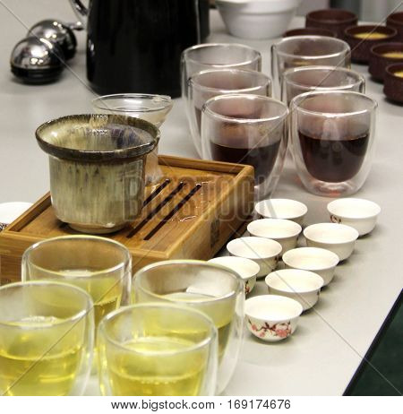 Professional preparation of Chinese tea with special set