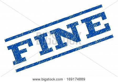 Fine watermark stamp. Text tag between parallel lines with grunge design style. Rotated rubber seal stamp with dirty texture. Vector blue ink imprint on a white background.