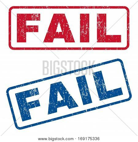 Fail text rubber seal stamp watermarks. Vector style is blue and red ink tag inside rounded rectangular shape. Grunge design and scratched texture. Blue and red stickers.