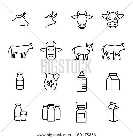 Set of cow and milk icons in modern thin line style. High quality black outline cow symbols for web site design and mobile apps. Simple milk pictograms on a white background.