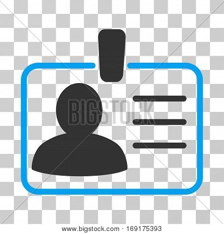 Personal Badge icon. Vector illustration style is flat iconic bicolor symbol blue and gray colors transparent background. Designed for web and software interfaces.