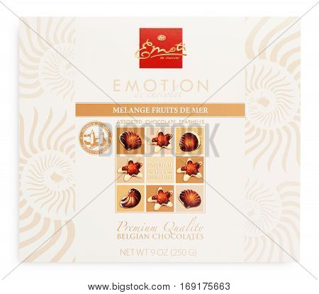 TULA RUSSIA - FEBRUARY 1 2017: Top view of Emoti de Chocolat Melagne fruits de mer box - belgian seashells chocolate isolated on white with clipping path. Emoti chocolate made by Elysberg Confiserie