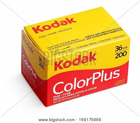 MOSCOW RUSSIA - FEBRUARY 5 2017: Box of Kodak ColorPlus film isolated on white background with clipping path. Kodak film manufactured by the Eastman Kodak Company