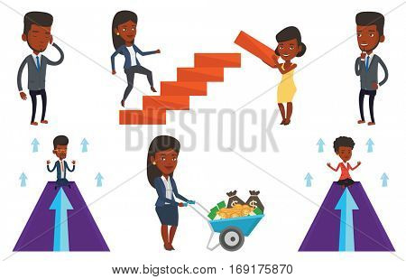 Businessman doing yoga on mountain with arrow going up. Businessman meditating in yoga lotus pose. Man sitting in yoga lotus pose. Set of vector flat design illustrations isolated on white background.