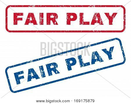 Fair Play text rubber seal stamp watermarks. Vector style is blue and red ink caption inside rounded rectangular banner. Grunge design and unclean texture. Blue and red stickers.