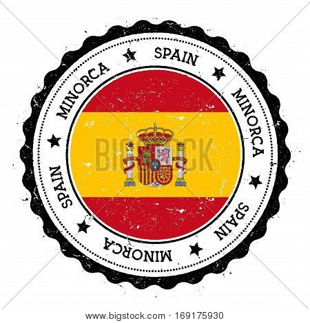 Minorca Flag Badge. Vintage Travel Stamp With Circular Text, Stars And Island Flag Inside It. Vector