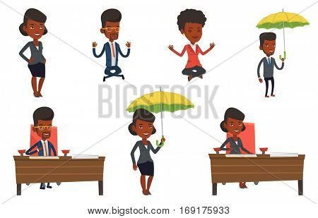 Businesswoman signing contract in office. Woman is about to sign a contract. Confirmation of transaction by signing of contract. Set of vector flat design illustrations isolated on white background.