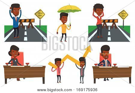 Man looking at road sign dead end symbolizing business obstacle. Man facing with business obstacle. Business obstacle concept. Set of vector flat design illustrations isolated on white background.