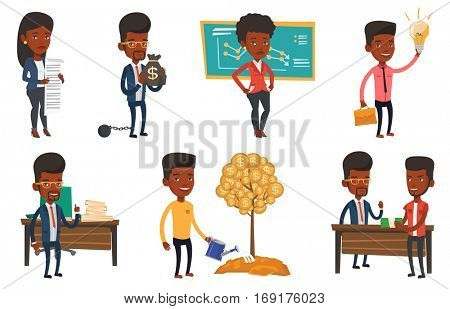 Man watering money tree. Man investing money in business project. Illustration of investment money in business. Investment concept. Set of vector flat design illustrations isolated on white background