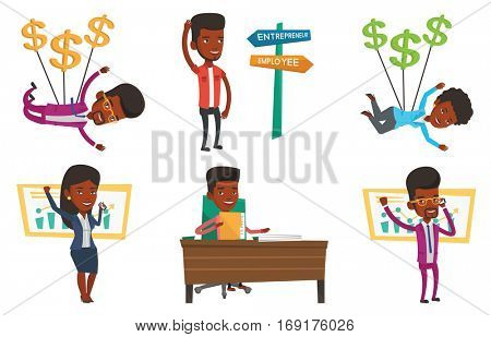 Successful businessman getting good news on mobile phone. Successful businessman talking on mobile phone. Business success concept. Set of vector flat design illustrations isolated on white background