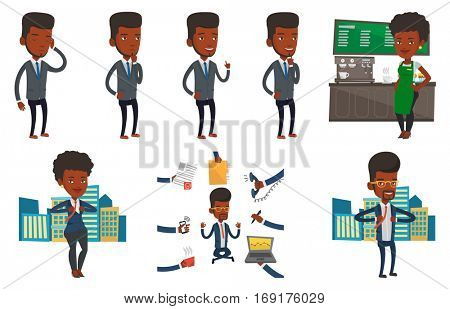 African-american businessman working on a new business plan. Young businessman during business planning. Business planning concept. Set of vector flat design illustrations isolated on white background