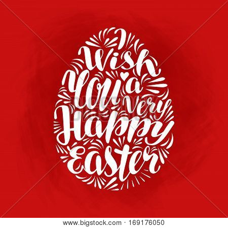 Happy Easter, holiday. Lettering, calligraphy in shape egg Vector illustration
