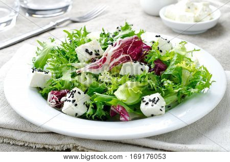 Green salad with spinach, frisee, arugula, radicchio, feta cheese and black sesame seed on blue wooden background, horizontal