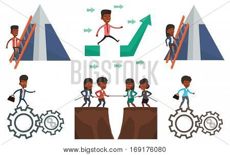Businessman climbing the ladder. Businessman climbing on mountain with arrow going up. Man climbing upward on the top of mountain. Set of vector flat design illustrations isolated on white background.