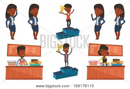 African businessman with business award standing on a pedestal. Businessman celebrating his business award. Business award concept. Set of vector flat design illustrations isolated on white background