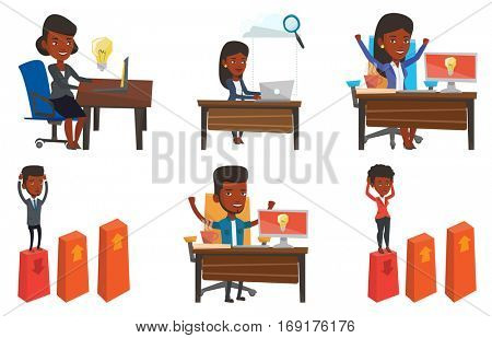 Woman having a business idea. Young businesswoman working on a laptop on a new business idea. Successful business idea concept. Set of vector flat design illustrations isolated on white background.