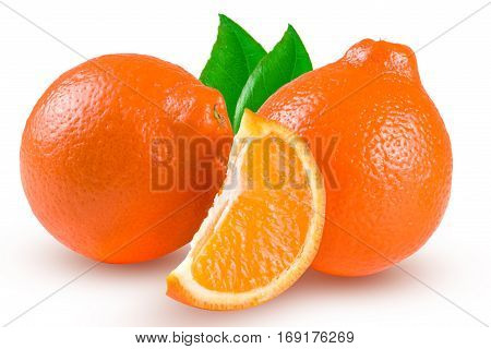two orange tangerine or Mineola with a slice and leaf isolated on white background.