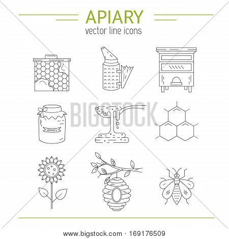 Apiary set vector line icons. Apiary vector symbols. Bee honey bee house honeycomb flowers beehive and wax . Honey natural healthy food production.