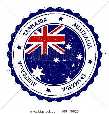 Tasmania Flag Badge. Vintage Travel Stamp With Circular Text, Stars And Island Flag Inside It. Vecto