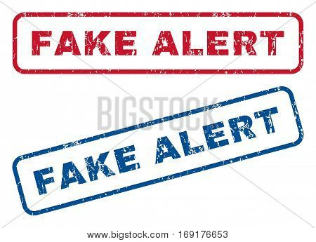 Fake Alert text rubber seal stamp watermarks. Vector style is blue and red ink caption inside rounded rectangular shape. Grunge design and dirty texture. Blue and red stickers.
