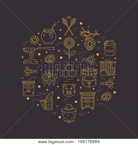 Vector apiary line icons. Apiary vector symbols. Bee honey bee house honeycomb dipper behive flowers wax Honey natural healthy food production