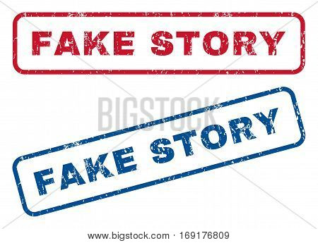 Fake Story text rubber seal stamp watermarks. Vector style is blue and red ink caption inside rounded rectangular banner. Grunge design and dust texture. Blue and red signs.
