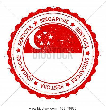 Sentosa Flag Badge. Vintage Travel Stamp With Circular Text, Stars And Island Flag Inside It. Vector