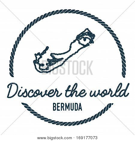 Bermuda Map Outline. Vintage Discover The World Rubber Stamp With Island Map. Hipster Style Nautical