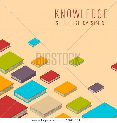 Banner with books flying books. Isometric flat class books and textbooks wallpaper. Education symbol background. Text, knowledge is the best investment. Illustration vector art.
