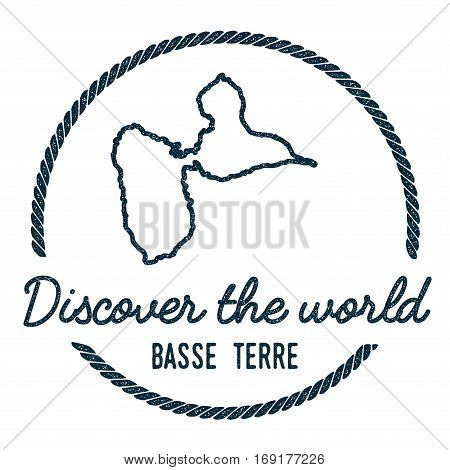 Basse-terre Island Map Outline. Vintage Discover The World Rubber Stamp With Island Map. Hipster Sty