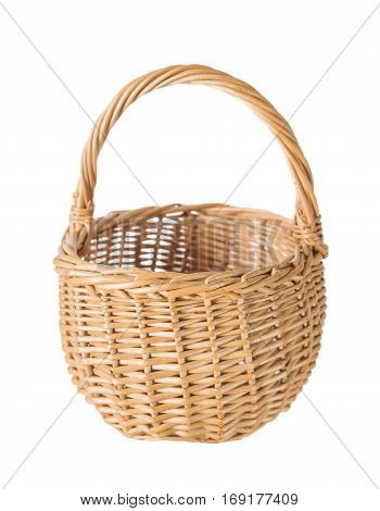 Wattled basket of natural wicker isolated on a white background front view