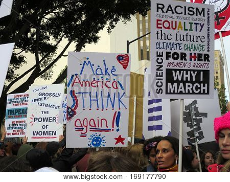 Political posters at Women's March, January 21, 2017 in San Diego, California